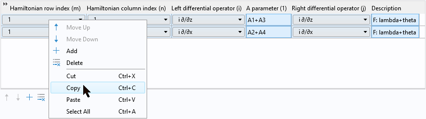 A screenshot how to copy selected rows in a table of values.