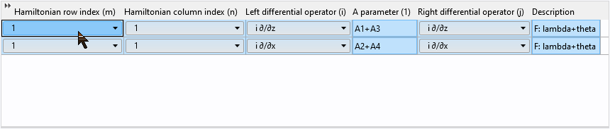 A screenshot of the two rows of Hamiltonian values being selected by the mouse.