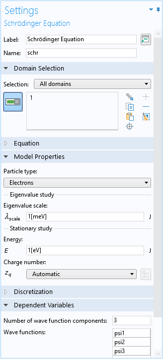 The Settings window for the Schrödinger Equation interface in the Semiconductor Module.