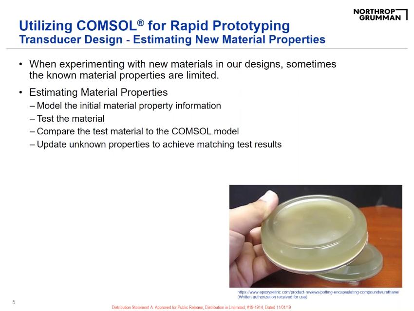 COMSOL 用户年会PPT演示的屏幕截图,显示了换能器设计示例。