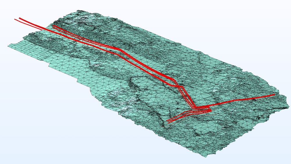 An image of a transmission line model with the lines in red and the topology of the surrounding area shown in teal.