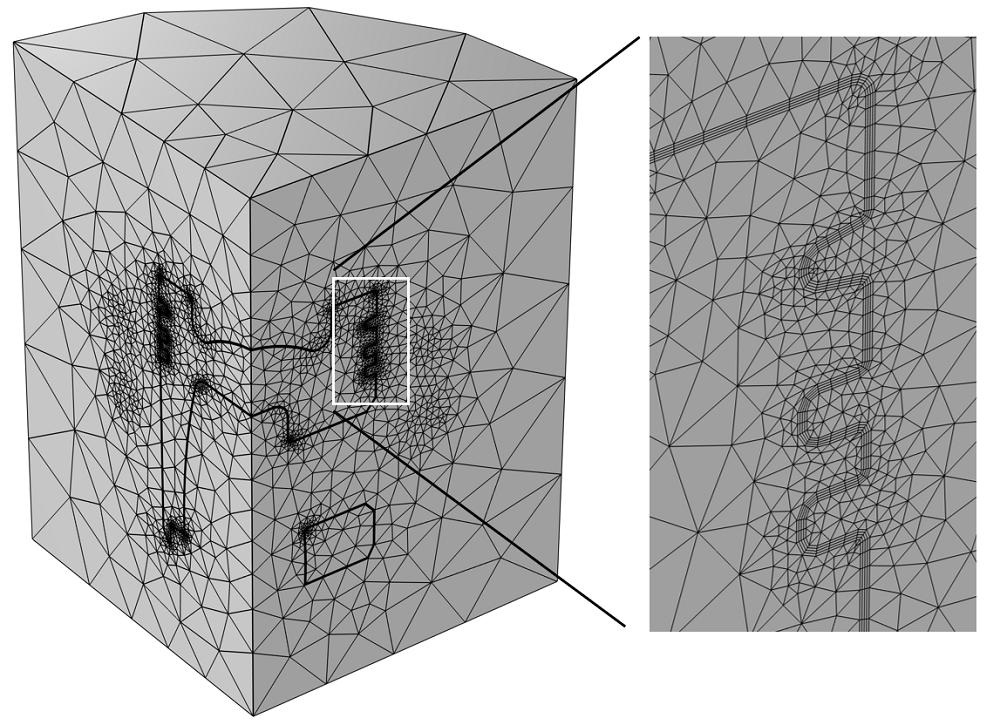 气缸盖模型网格的图像,其中插入显示了一个活塞面上的边界层网格的特写视图