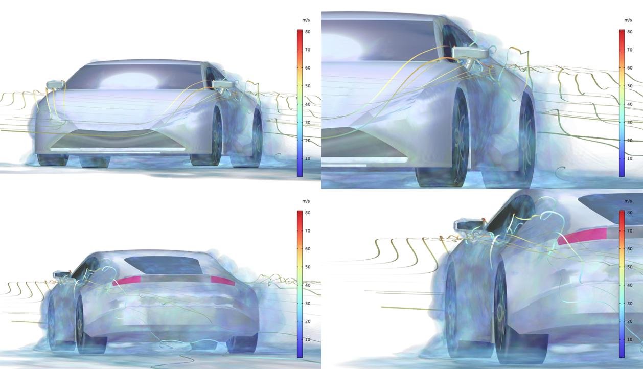 显示跑车周围流场的 4 个模拟结果的拼贴画,放大了两个视图以显示侧门周围的流场