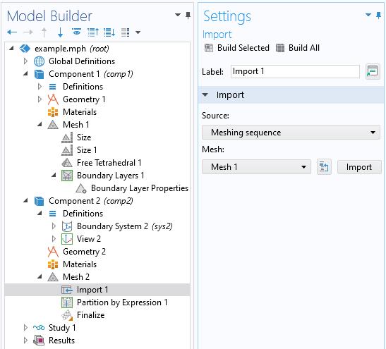 """左侧模型树和右侧""""导入设置""""窗口的屏幕截图,其中""""源""""选项设置为""""网格划分""""序列"""