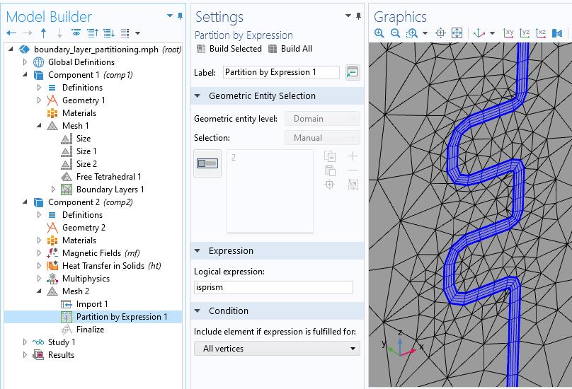 左侧模型树的屏幕截图,中间的按表达式设置分区,右侧的图形窗口,以灰色和蓝色显示新分区的网格域