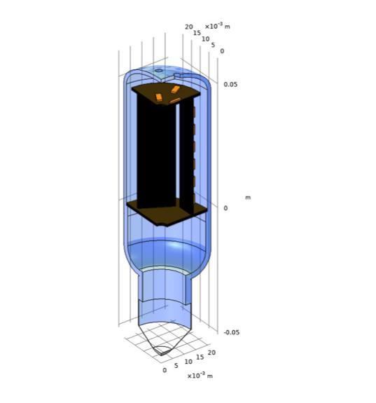 LED 灯泡模型的四分之一视图,其中突出显示了顶部 PCB 上 LED 芯片的位置