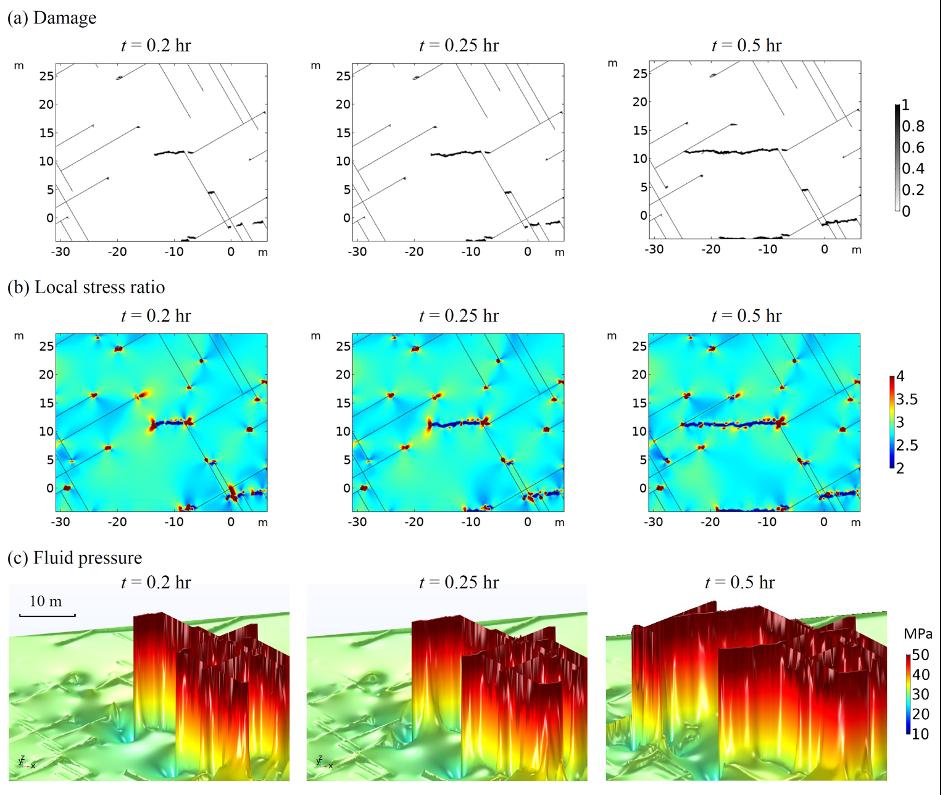 一个 3×3 的图像网格,显示了破裂岩石局部区域的顶行损伤、中行应力比和底行流体压力