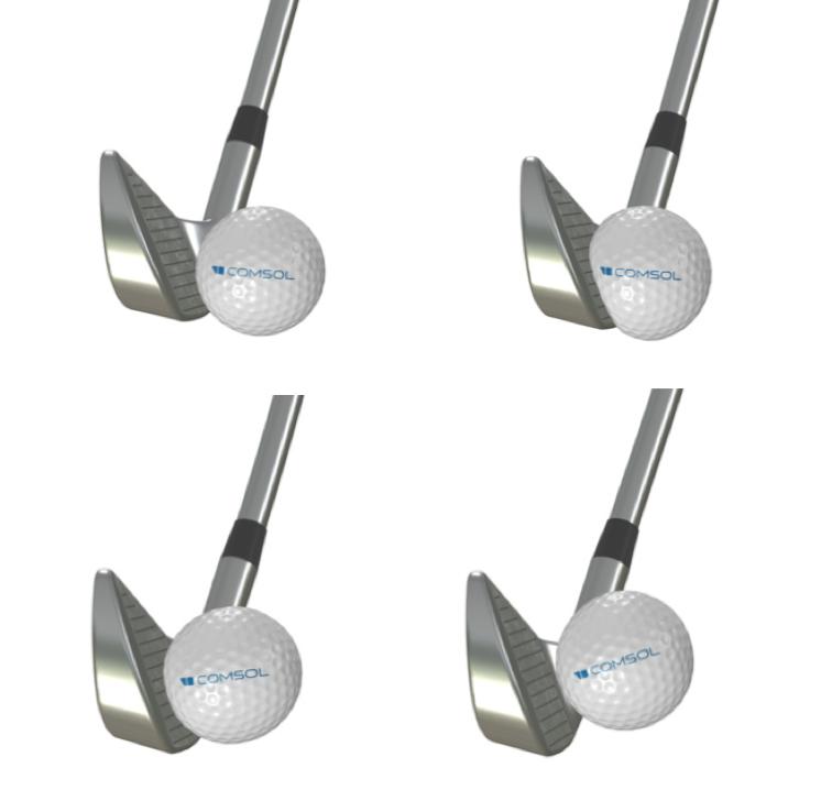 显示高尔夫球在被高尔夫球杆击打之前、之中和之后的四张图像的拼贴画,球上的徽标随着每个时间步长而轻微旋转
