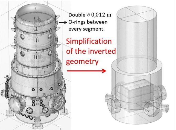 镜像塔模型几何的并排图像,左侧显示完整,右侧显示简化