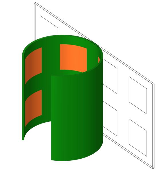 卷绕后的变形部分,以绿色和橙色显示,初始状态以线框显示以供参考