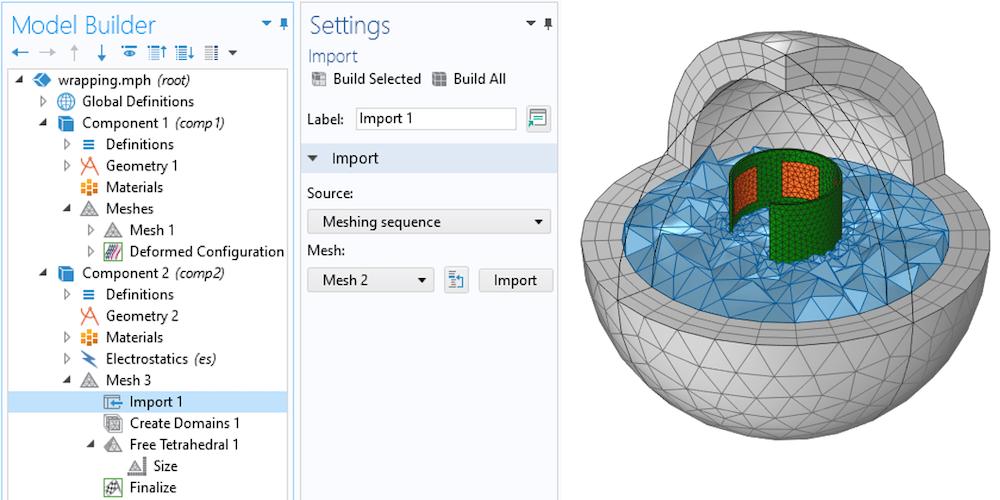 并排图像显示在左侧的模型树和设置窗口中选择的导入节点,以及右侧的网格化组件和可用空间
