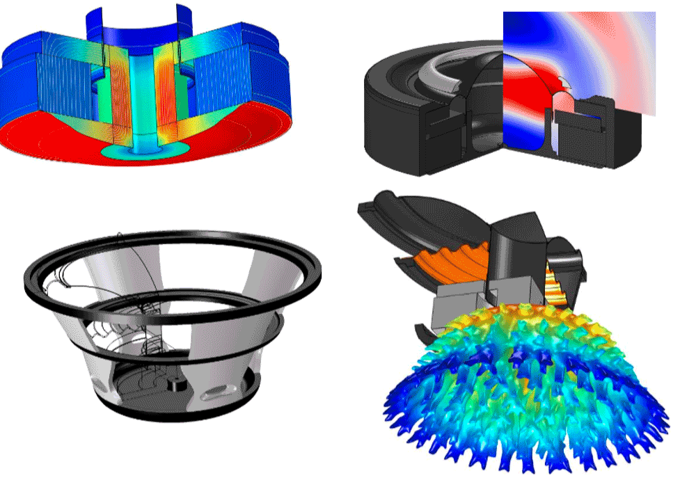 A collage of four loudspeaker simulations modeled by Acculution ApS.