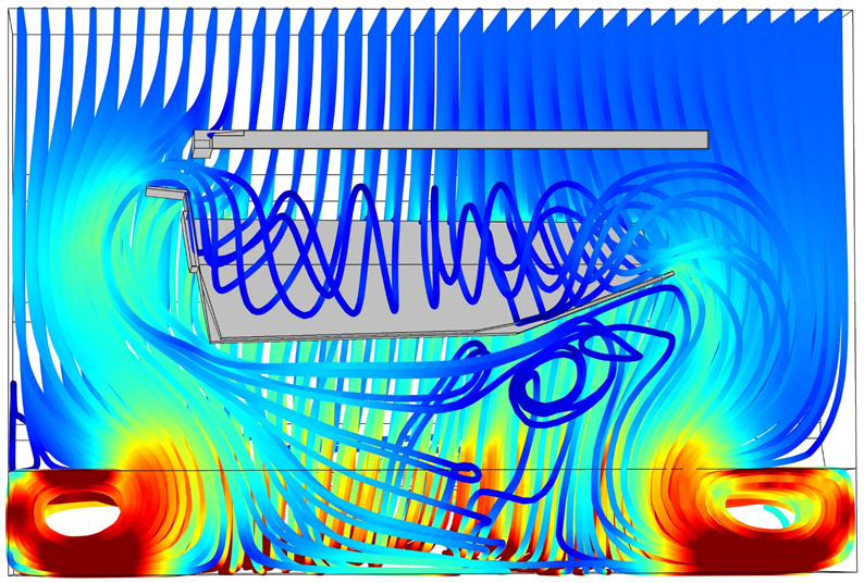 Simulation depicting flow streamlines in a vehicle.