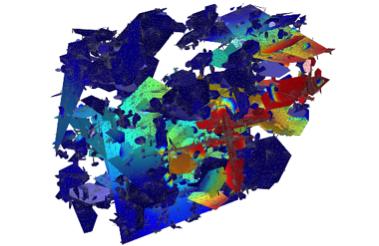 Pollutants dissolved in water modeled via spatial distribution in the COMSOL software.