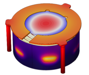 A model of a resistive heater used in a pulsed laser deposition device.