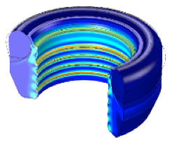 Model of a high-pressure seal made out of three hyperelastic materials by Polibrixia.