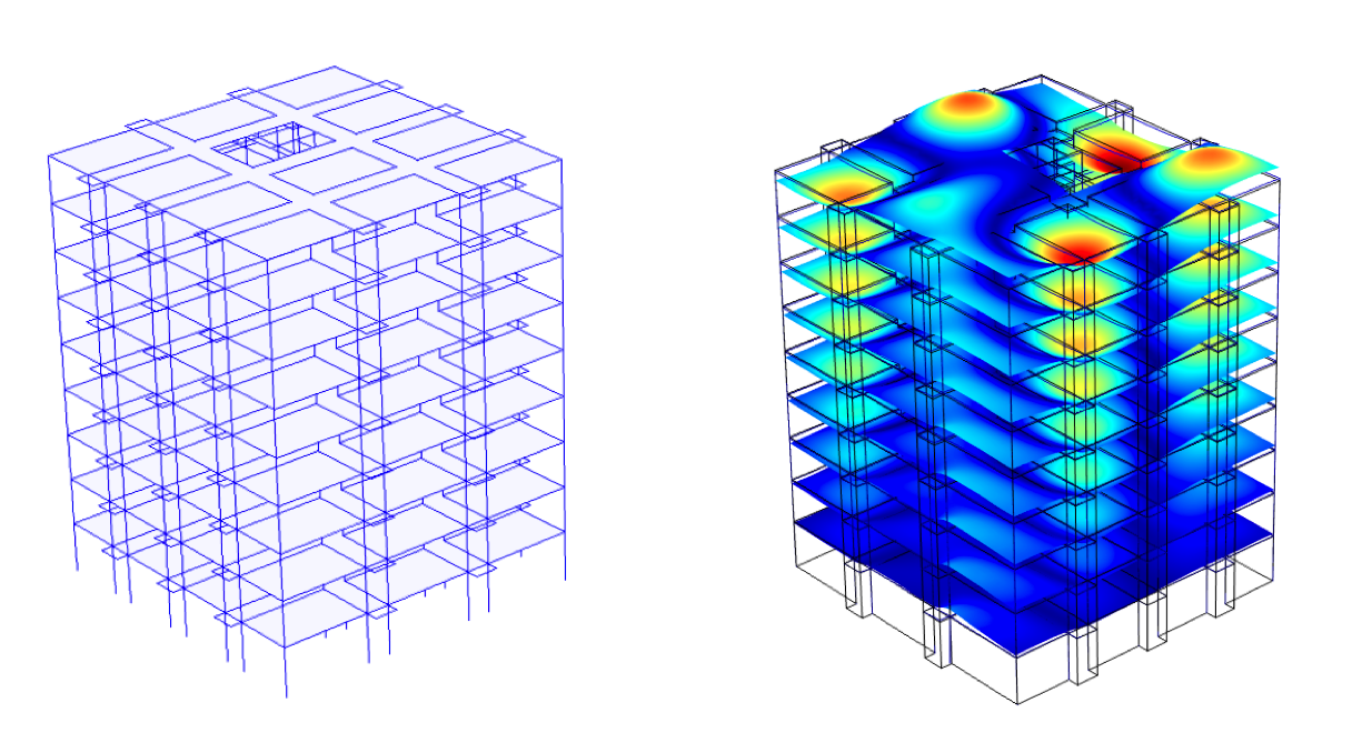 Analyzing a building's structural dynamic response with modeling software.