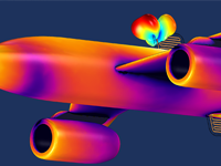 A cropped airplane antenna simulation against a dark blue background.