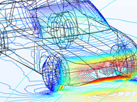 Flow around a car shown in a rainbow color table.