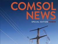 COMSOL新闻特别版权力杂志封面的顶部有一个尖塔,在出版物名称下面部分查看。