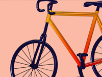 A bike model against an orange background.