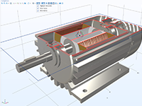 A metallic induction motor model with the inside exposed at the top, by way of clipping.
