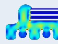 基于COMSOL Multiphysics的光学片上系统处理器模型,并以彩虹色表显示。