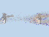A gray model of two human runners seen from above with spherical particles in white, pink, and blue to symbolize small and large droplets, where the particles hit the second runner.