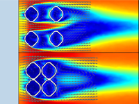 CFD simulation of an Ernietta organism with flow shown in rainbow.