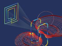 An RFID tag model on a dark blue background.