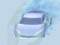 Fluid flow around a sports car shown in blue and yellow.