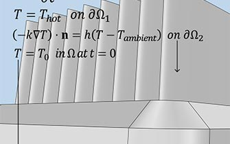 A closeup view of a gray heat sink geometry with an equation overlaid.