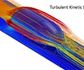 A hyperloop design showing the turbulent kinetic energy in a rainbow color table.