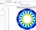 A closeup view of a simulation app for analyzing von Mises stress in different rotor designs.