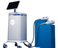 The portable CoolSculpting® Elite System with two applicators resting on blue columns.
