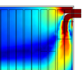 Airflow in a cold storage room visualized in a rainbow color table.