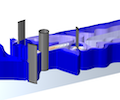 A 3D simulation of the fluid flow, visualized in blue slices, through a Water2Energy water turbine design.