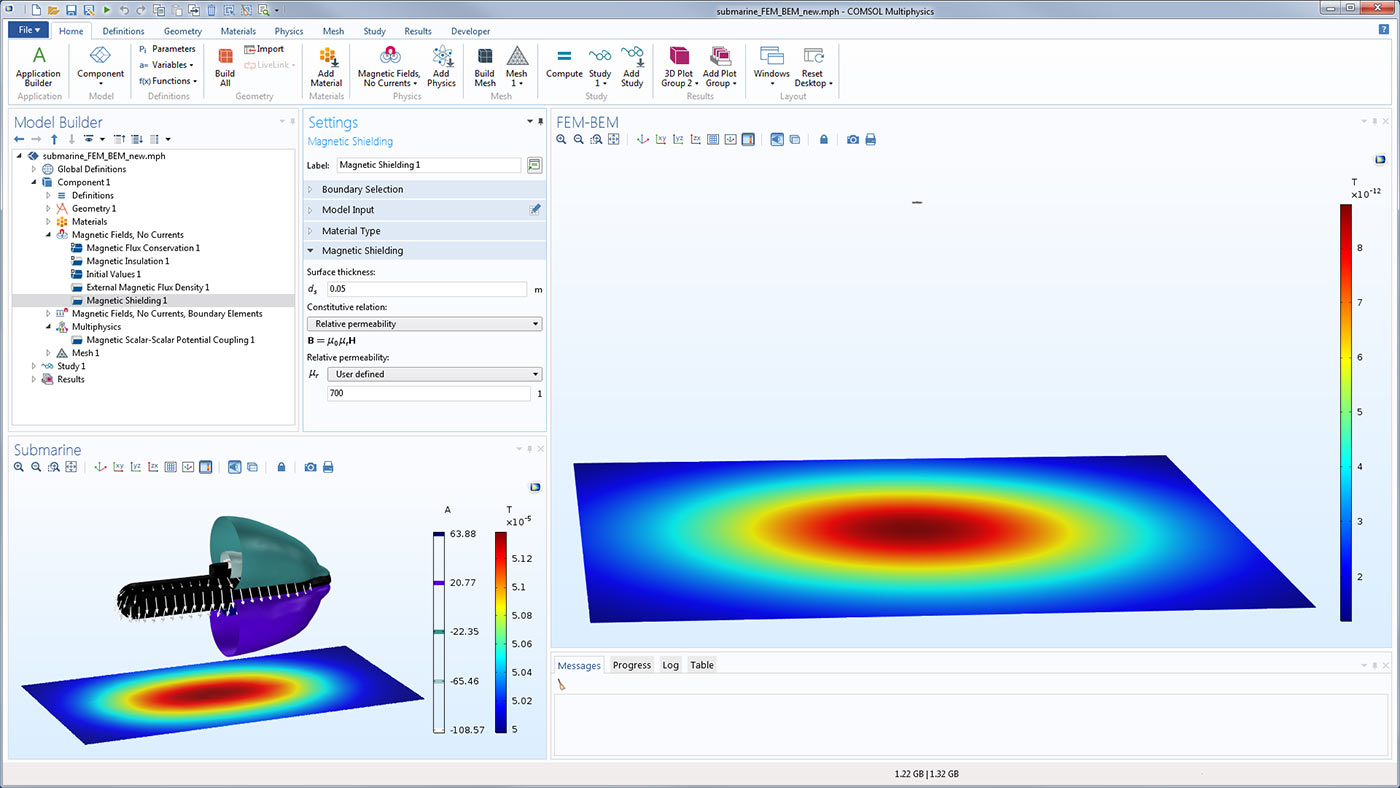 Software For Simulating Static And Low Frequency Electromagnetics Molecular Expressions Electricity Magnetism Resistance A Submarine Model Shown In The Comsol Gui