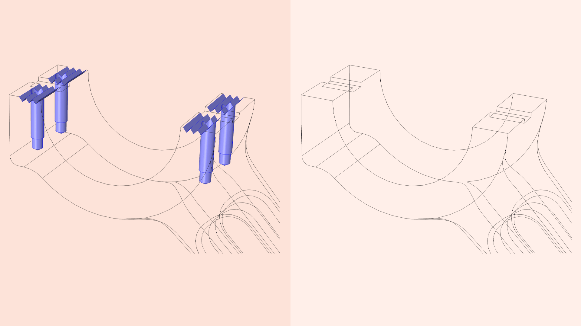 Side-by-side images showing a CAD geometry with and without a groove and hole.