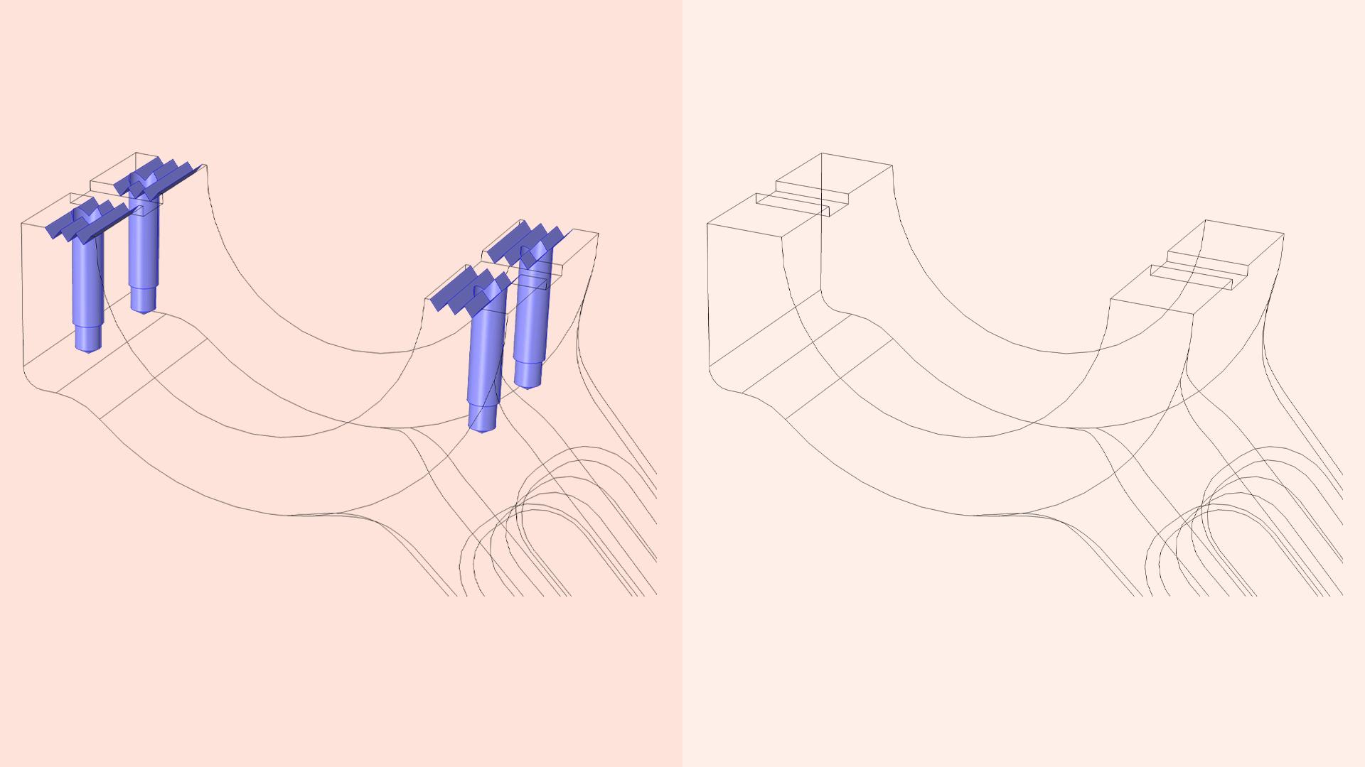Сравнение исходной геометрической CAD-модели и модели после выполнения операций удаления пазов и отверстий.