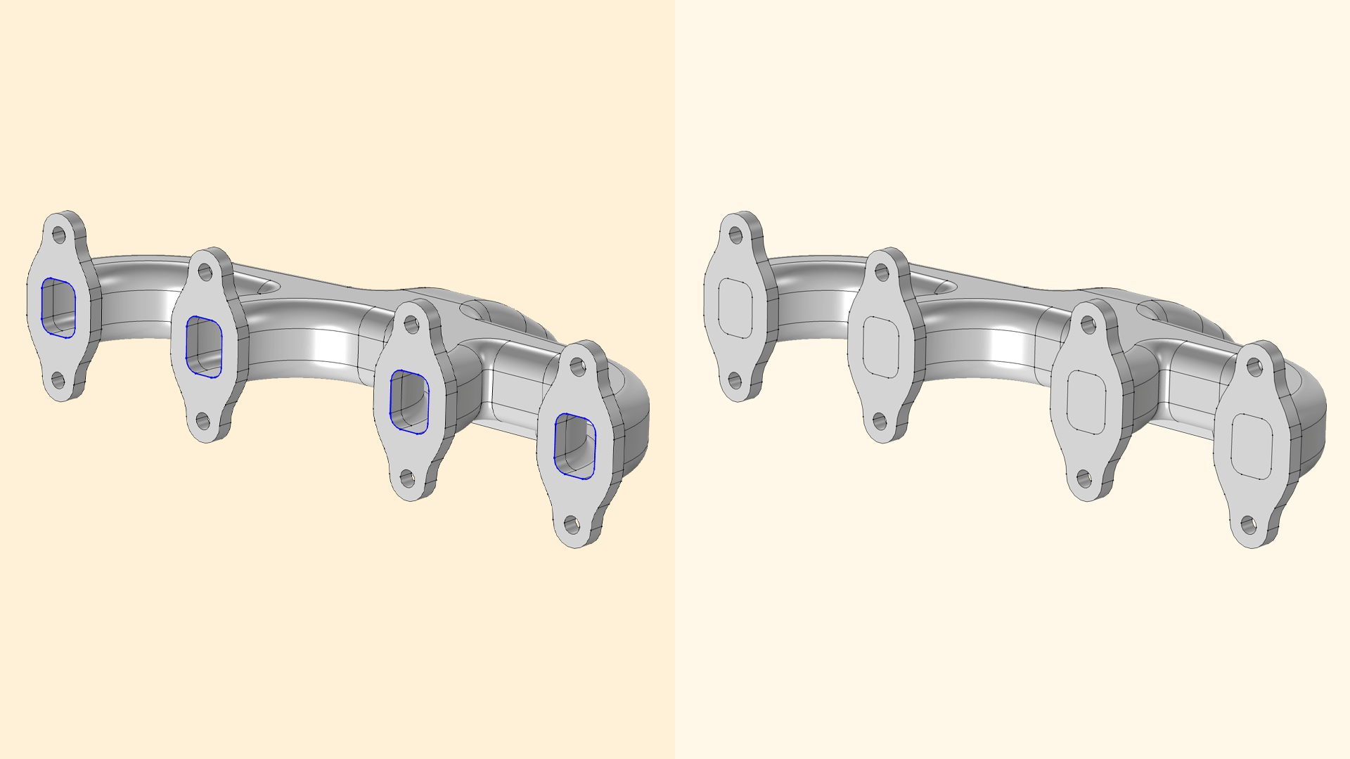 Side-by-side images showing CAD geometries with and without capped faces.