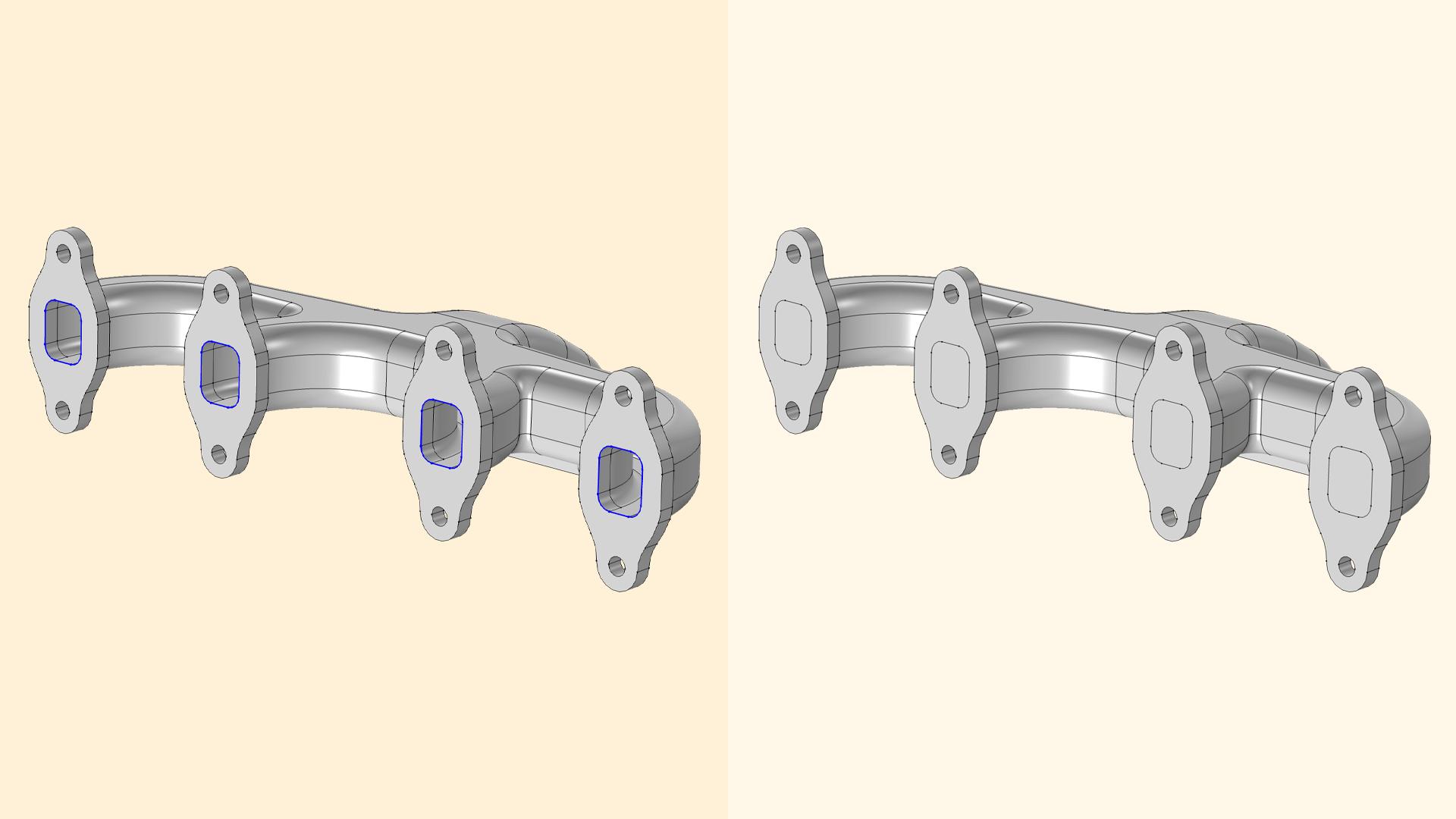 Изображение полой CAD-модели и модели, в которой полость заполнена достроенным с помощью инструмента Cap Faces внутренним доменом.