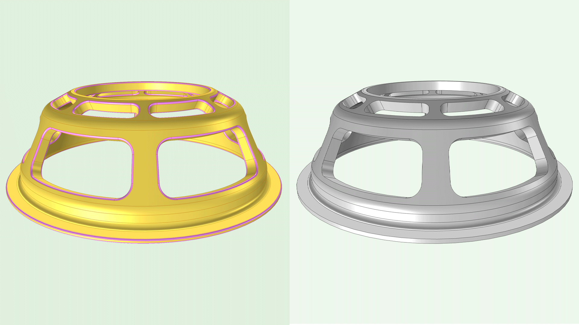 Side-by-side images showing a CAD geometry with and without fillets.