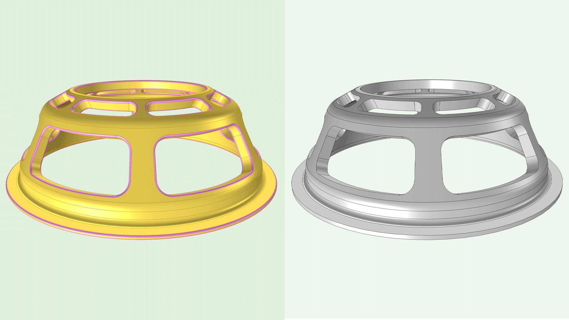 Сравнение исходной геометрической CAD-модели и модели после выполнения операций удаления галтелей (скруглений).