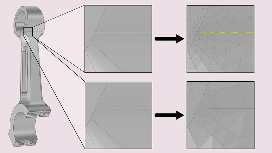 На рисунке показан пример повышения качества сетки за счет устранения узкой грани