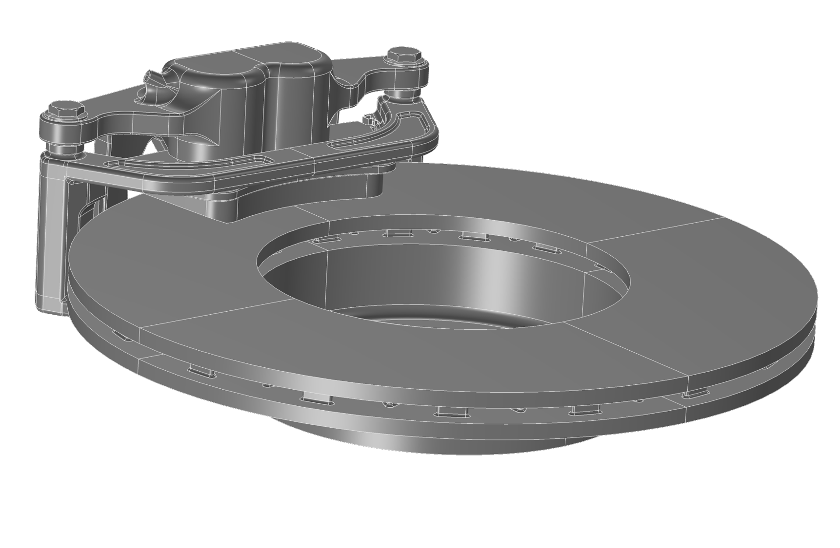 A gray geometry of a car disc brake assembly made up of a ventilated disc and caliper assembly.