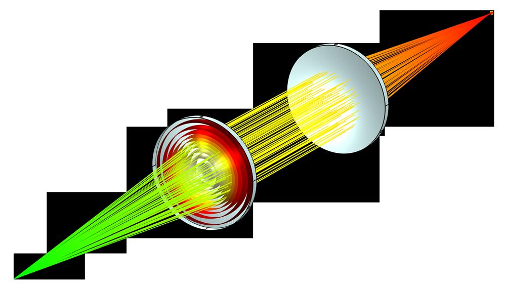 Модель системы фокусировки высокоэнергетического лазерного пучка.