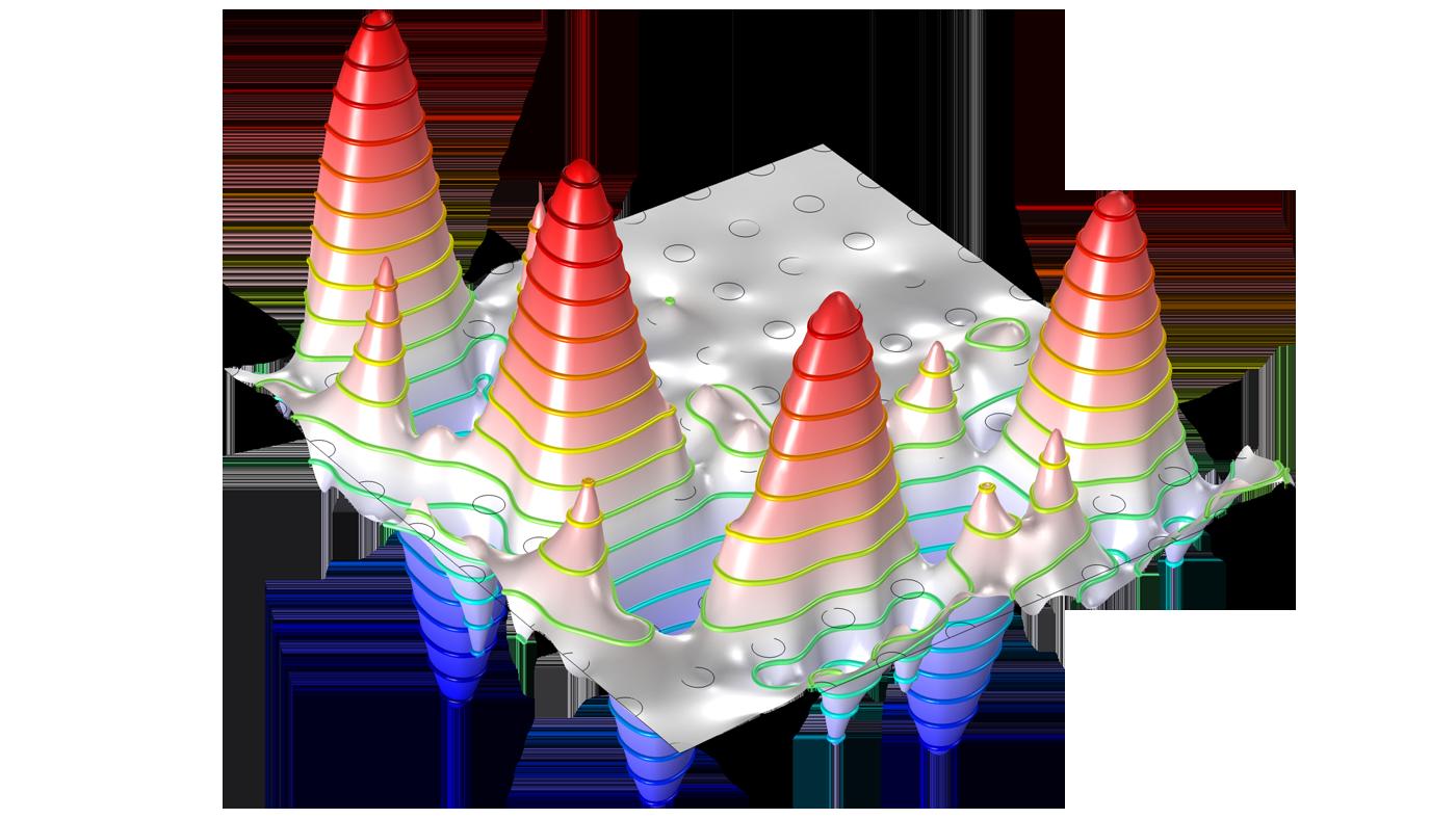 Модель волновода на фотонном кристалле, созданная с помощью модуля Волновая оптика.