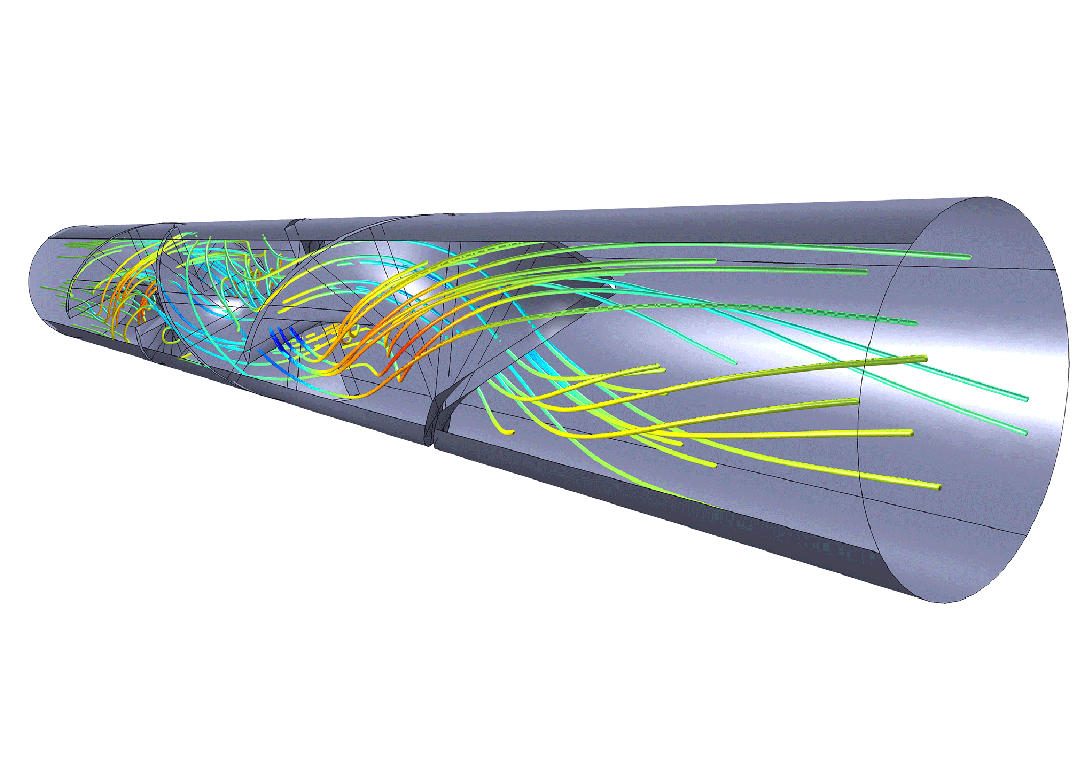 Flow in a static mixer where the extent of mixing is observed through particle tracing.