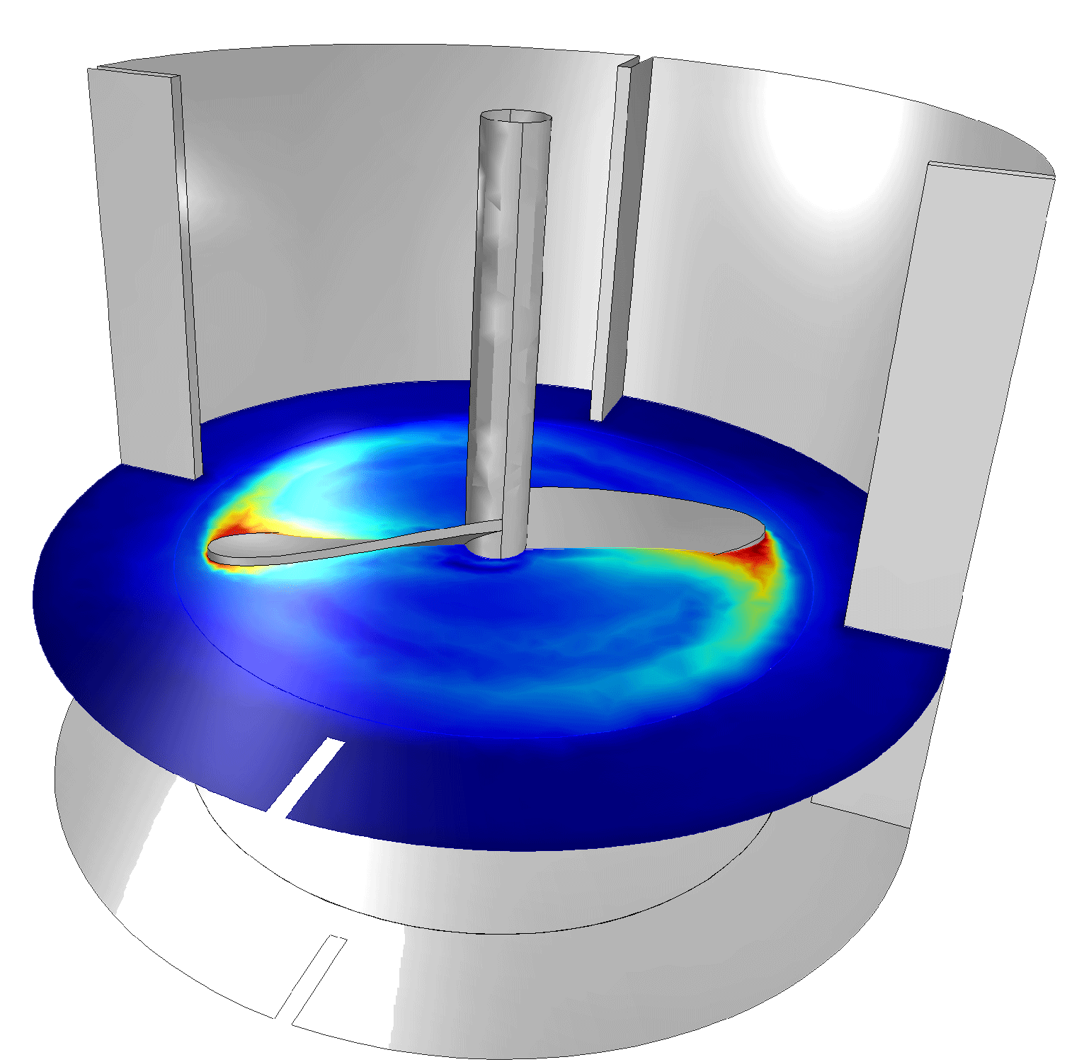 Flow field in a stirred, baffled mixer using the Rotating Machinery interface.